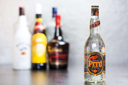 Bottle of Cachaca Pitu, a distilled spirit made from sugarcane juice  It