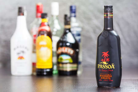 Bottle of Passoa, a passion fruit liqueur made in France, with mango, pineapple, and coconut flavors  It