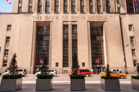 TORONTO, CANADA - MAY 10, 2007: Historic Beaux-Arts Bank of Nova Scotia at 44 King St. West in Toronto. It was designed by architects Mathers and Haldenby with Beck and Eadie and constructed between 1946 and 1951.