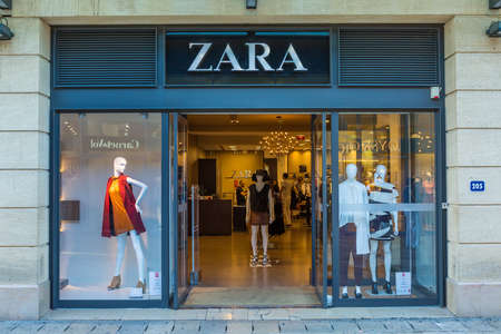 AIX-EN-PROVENCE, FRANCE - AUGUST 14, 2015: Zara shop on the Boulevard de la Republique. It is Spanish clothing and accessories retailer based in Arteixo, Galicia, and founded in 1975 by Amancio Ortega and Rosalía Mera