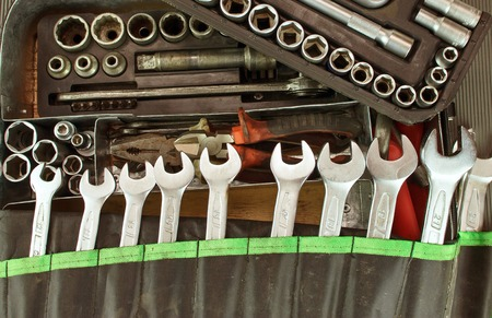 Photo for Many dirty set of hand tools on a vintage background - Royalty Free Image