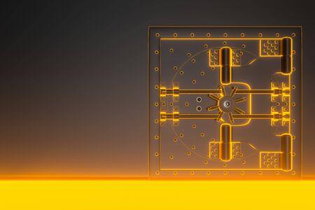 Photo pour Front view of light gold bank vault door, closed. The door to the bank vault with a lot of secret mechanisms and passwords. 3D Render - image libre de droit