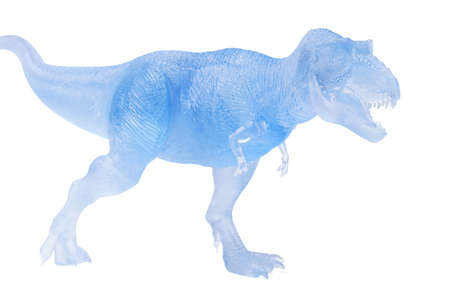Photo pour Frozen dinosaurs isolated on white background. tyrannosaurus rex dinosaurs toy. - image libre de droit