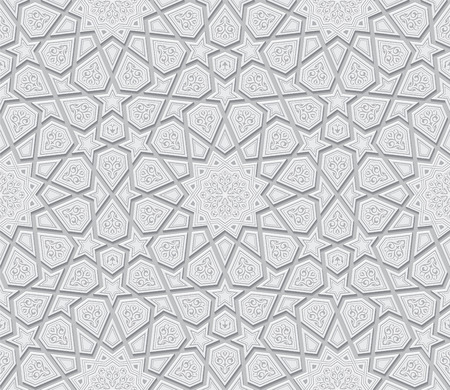 Islamic Star Ornament Light Grey Background, Vector Illustration