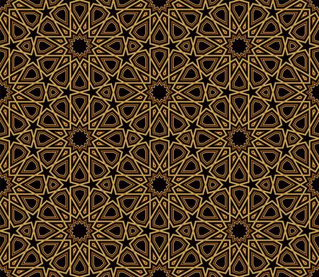 Arabesque Black  Gold Pattern, Dark Background, Vector Illustration