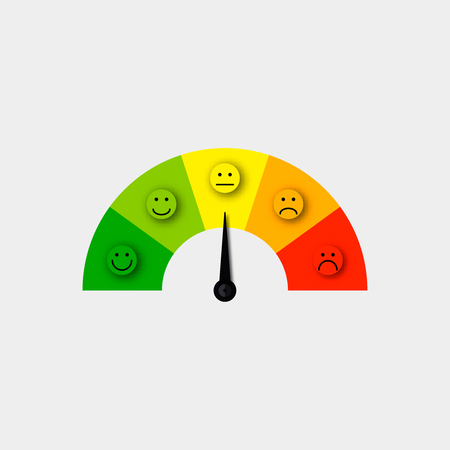 Illustration pour customer satisfaction meter vector  satisfaction feedback scale vector - image libre de droit