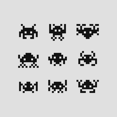 Illustration pour Space invaders bit game vector set pixel  robots. - image libre de droit