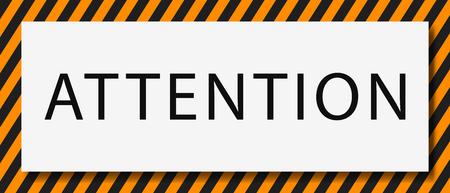 Illustration pour Attention message banner .  Yellow and black  attention sign . - image libre de droit