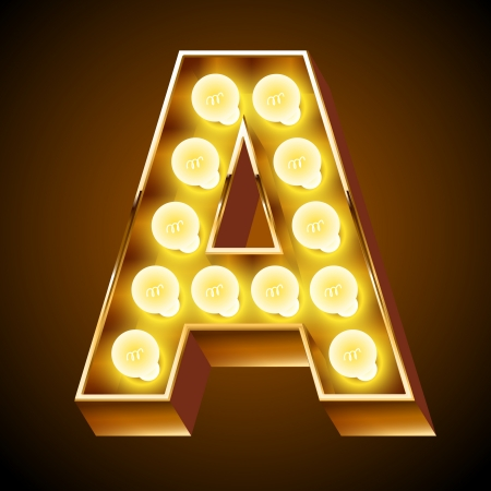 Old lamp alphabet for light board  Letter A