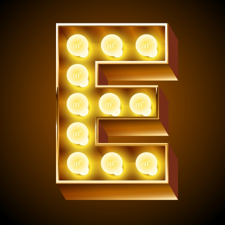 Old lamp alphabet for light board  Letter E