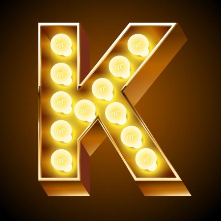 Old lamp alphabet for light board  Letter K