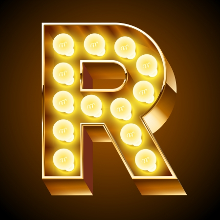 Old lamp alphabet for light board  Letter R