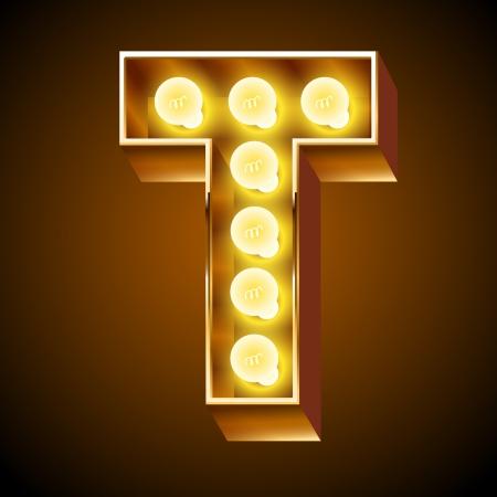 Old lamp alphabet for light board  Letter T