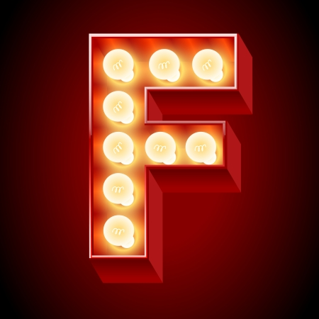 Old lamp alphabet for light board  Letter F