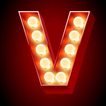 Old lamp alphabet for light board  Letter V