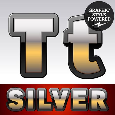 Vector set of gradient silver font with black border. Letter T