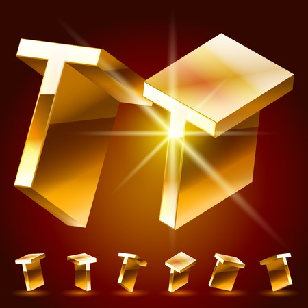 3D vector deluxe alphabet of randomly rotated thin golden symbols. All symbols in set have 8 random points of view. Letter T