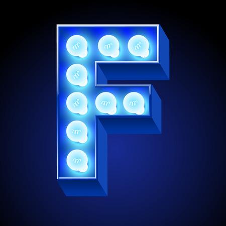 Vector festive alphabet with blue lamp. Letter F