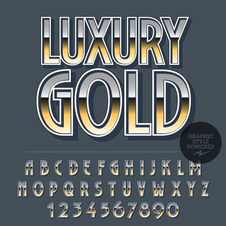 Glossy set of alphabet letters, numbers and punctuation symbols. Reflective vector with text Luxury gold