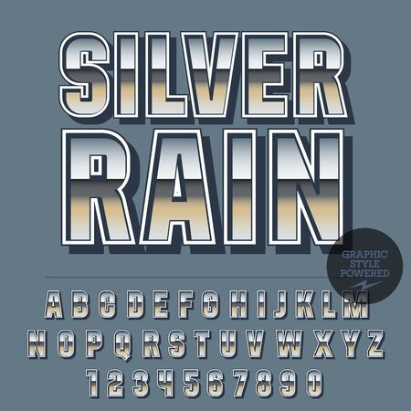 Glossy set of alphabet letters, numbers and punctuation symbols. Reflective vector emblem with text Silver rain