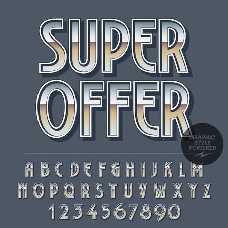 Glossy set of alphabet letters, numbers and punctuation symbols. Reflective vector promotion poster with text Super offer