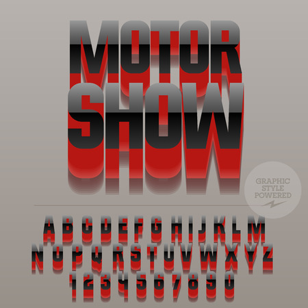 Set of glossy black alphabet letters, numbers and punctuation symbols. Vector reflective stylish sign with text Auto show. File contains graphic styles