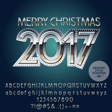 Illustration pour Vector metallic Merry Christmas 2017 greeting card with set of letters, symbols and numbers. File contains graphic styles - image libre de droit