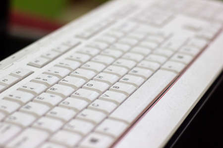 Photo pour close up of a white keyboard, white keyboard in office - image libre de droit