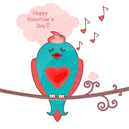 Little bird sitting on a branch and sings  Postcard to Valentinov Day Postcard to Valentinov Day