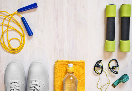 Accessories for fitness classes. Sports concept.