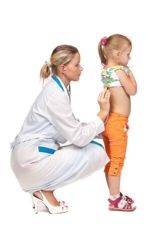 Female  doctor examining a little child on a white background.