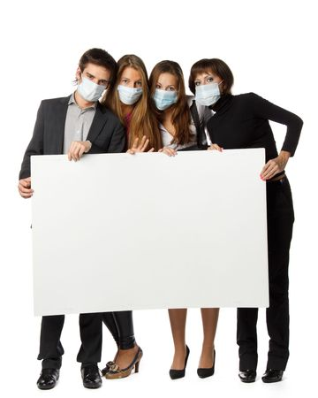 People in individual medical protective masks with the blank sign on a white background. Flu preventive maintenance.