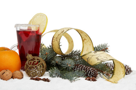 Photo for Winter holidays still life with fir tree branch, fruit tea and Christmas decorations lying on snow on a white background. New Year and Christmas. - Royalty Free Image