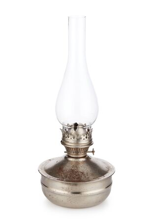 Photo for Vintage kerosene lamp isolated on white background. Glass oil lamp. Top-side view. - Royalty Free Image