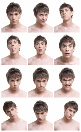 Man face expressions composite isolated on white background. On AdobeRGB.