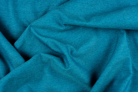 Photo for Bright blue fabric texture with folds. Blue fabric background with pleats. - Royalty Free Image