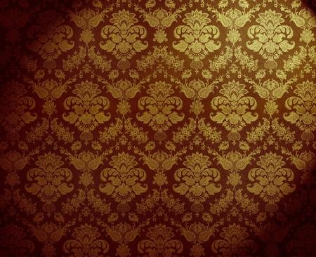 retro golden dirty floral wallpaper