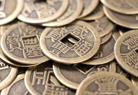 Antique bronze Chinese coins of close-up