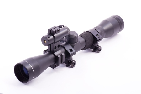 laser rifle scope with laser isolated on white