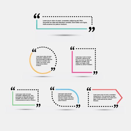 Illustration pour Quote blank template. Empty quote bubble. Quote form. Quote citation blank template. - image libre de droit