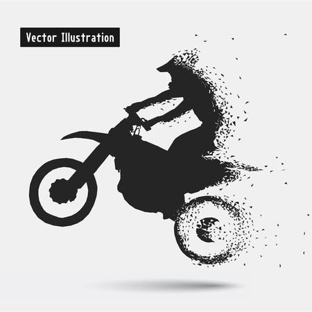 Illustration pour Motorcycle Riders. Vector eps10 illusration. Particle divergent composition - image libre de droit
