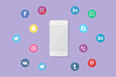 Illustration for Vector phone with social media logos. Flat design. - Royalty Free Image