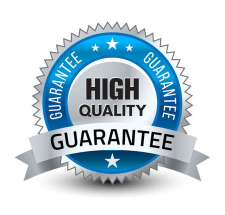 Illustration pour Steel blue reliable high quality guarantee badge with ribbon isolated on white background. - image libre de droit