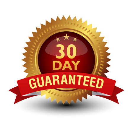 Illustration pour Royal and majestic 30 day money back guaranteed. Golden Red combined badge, isolated on white. - image libre de droit