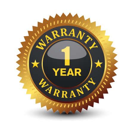 Illustration pour Glossy 1 year warranty badge. - image libre de droit
