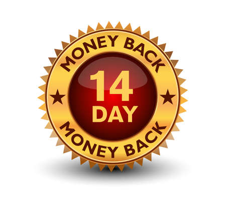 Illustration pour Powerful golden colored seal, stamp or badge 14 day money back guarantee badge isolated on white background. - image libre de droit