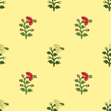 Illustration pour seamless red and yellow mughal flower pattern motifs on yellow background. abstract vector flower illustration. - image libre de droit