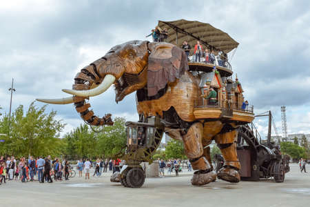 Photo for NANTES, FRANCE - JULY 1, 2017: The Machines of the Isle of Nantes (Les Machines de l'île) is an artistic, touristic and cultural project based in Nantes, France. Summer Fun for children and adults. - Royalty Free Image