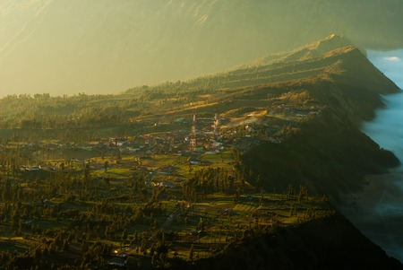 Sunrise at volcano Mount Bromo,view of town