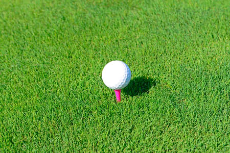 Play golf on the grass, close-up